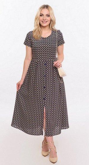 Платье штапель 5915/24/Темно-синий, белый