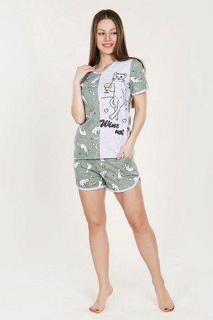 Пижама футболка+шорты - Mr.Кот - 903 - хаки