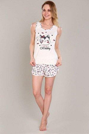 Пижама майка+шорты - Кети - 366 - бежевый