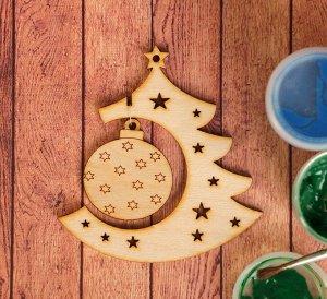 Заготовка для творчества «Ёлочка с новогодней игрушкой», подвеска 9,5см