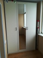 Шкаф 3-x ств Орион с зеркалом 1413*2300*450, Белый/Белый