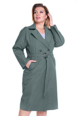 Тренч-5056 Материал: Плащевая ткань; Цвет: Зеленый; Фасон: Тренч; Длина рукава: Длинный рукав; Параметры модели: Рост 168 см, Размер 54 Тренч женский хаки          Стильный тренч оверсайз из мягкой п