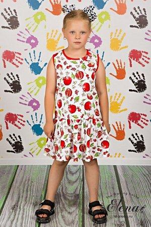 Сарафан Сарафан для девочки выполнен из х/б полотна с набивным рисунком. Силуэт свободный, низ со сборками, горловина и проймы обработаны бейкой контрастного цвета. В качестве украшения слева пришит б