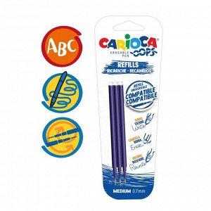 """Набор стержней для гелевой ручки """"пиши-стирай"""" Carioca """"OOPS"""", чернила синие, 3 шт., 111 мм, 0,7 мм, блистер"""
