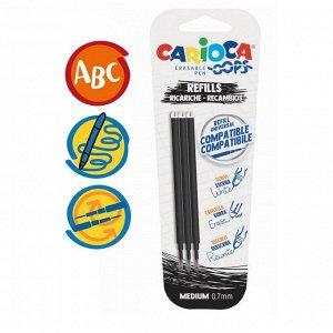 """Набор стержней для гелевой ручки """"пиши-стирай"""" Carioca """"OOPS"""", чернила черные, 3 шт., 111 мм, 0,7 мм, блистер"""