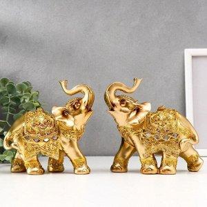 """Сувенир полистоун """"Слоны в золотых доспехах"""" набор 2 шт 15х15х6,5 см"""