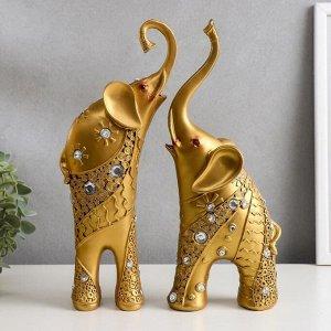 """Сувенир полистоун """"Золотые слоны со стразами"""" стразы с 2-х сторон набор 2 шт 30х20,5х6,2 см"""