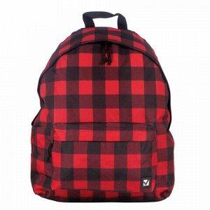 """Рюкзак BRAUBERG универсальный, сити-формат, красный в клетку, """"Тартан"""", 23 литра, 43х34х15 см, 226400"""