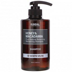 Kundal, мед и макадамия, шампунь, белый мускус, 500 мл (16,90 жидк. унции)