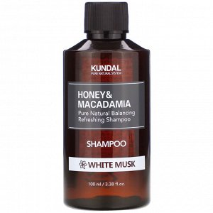 Kundal, мед и макадамия, шампунь, белый мускус, 100 мл (3,38 жидк. унции)