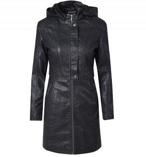 Утепленная женская куртка из эко-кожи, на замке, с капюшоном, цвет черный