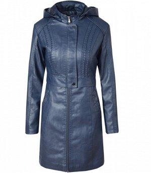 Утепленная женская куртка из эко-кожи, на замке, с капюшоном, цвет синий