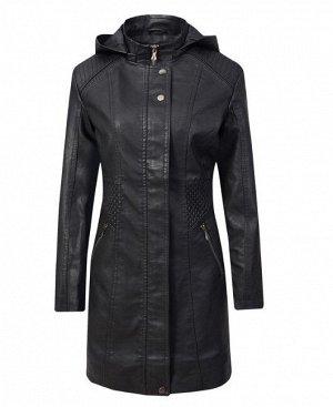 Женская удлиненная куртка из эко-кожи, цвет черный