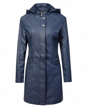 Женская удлиненная куртка из эко-кожи, цвет синий