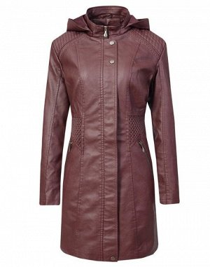Женская удлиненная куртка из эко-кожи, цвет бордовый