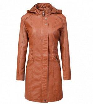 Женская удлиненная куртка из эко-кожи, цвет светло-коричневый