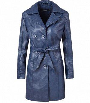 Утепленная женская куртка из эко-кожи, на пуговицах, с поясом, цвет синий