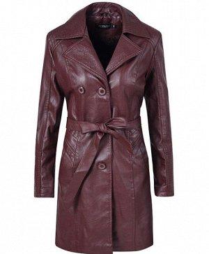 Утепленная женская куртка из эко-кожи, на пуговицах, с поясом, цвет бордовый