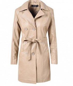 Утепленная женская куртка из эко-кожи, на пуговицах, с поясом, цвет кремовый