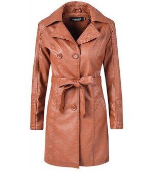 Утепленная женская куртка из эко-кожи, на пуговицах, с поясом, цвет коричневый
