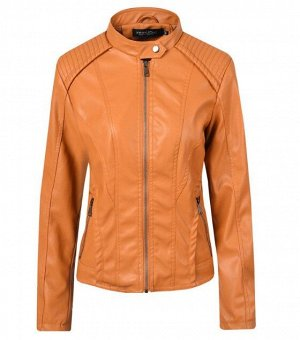 Женская куртка из эко-кожи, цвет светло-коричневый