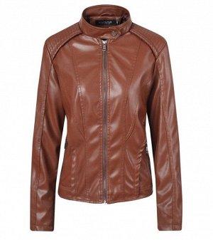 Женская куртка из эко-кожи, цвет коричневый