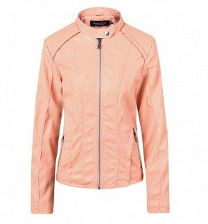 Женская куртка из эко-кожи, цвет розовый