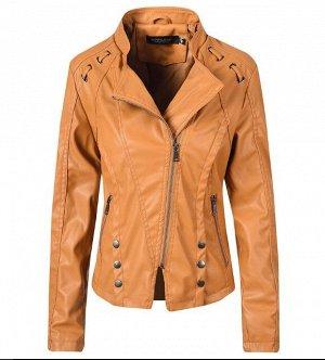Женская куртка из эко-кожи, с декоративными элементами, цвет светло-коричневый