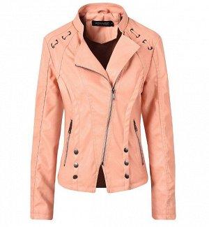 Женская куртка из эко-кожи, с декоративными элементами, цвет розовый