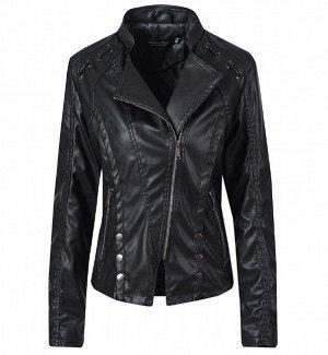 Женская куртка из эко-кожи, с декоративными элементами, цвет черный