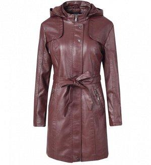 Утепленная женская куртка из эко-кожи, с поясом, цвет бордовый