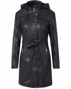 Утепленная женская куртка из эко-кожи, с поясом, цвет черный