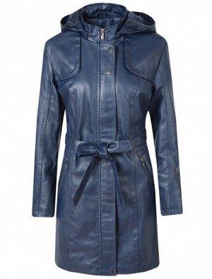 Утепленная женская куртка из эко-кожи, с поясом, цвет синий