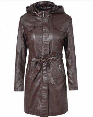 Утепленная женская куртка из эко-кожи, с поясом, цвет темно-коричневый