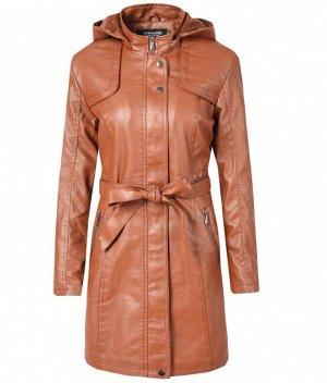 Утепленная женская куртка из эко-кожи, с поясом, цвет коричневый