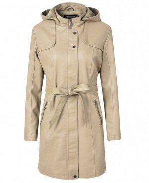 Утепленная женская куртка из эко-кожи, с поясом, цвет кремовый
