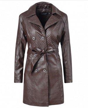 Утепленная женская куртка из эко-кожи, на пуговицах, с поясом, цвет темно-коричневый