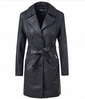 Утепленная женская куртка из эко-кожи, на пуговицах, с поясом, цвет черный