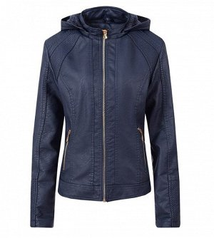 Утепленная женская куртка из эко-кожи, с капюшоном, цвет синий