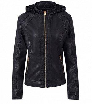 Утепленная женская куртка из эко-кожи, с капюшоном, цвет черный