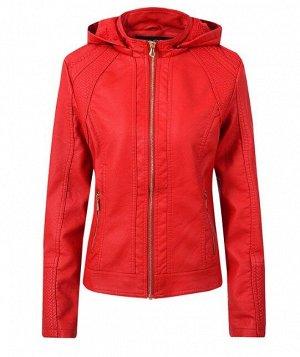 Утепленная женская куртка из эко-кожи, с капюшоном, цвет красный