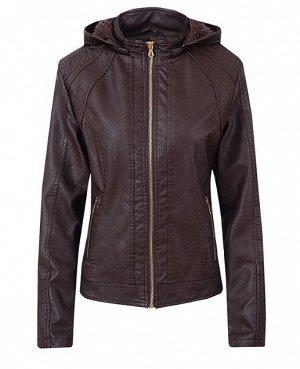 Утепленная женская куртка из эко-кожи, с капюшоном, цвет темно-коричневый