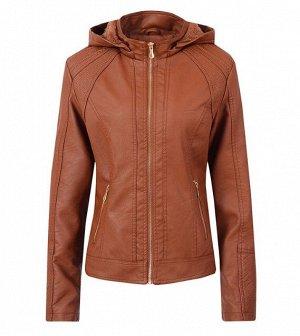 Утепленная женская куртка из эко-кожи, с капюшоном, цвет коричневый