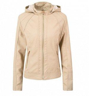 Утепленная женская куртка из эко-кожи, с капюшоном, цвет кремовый