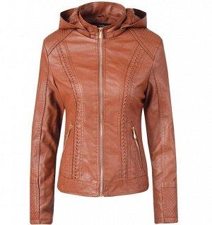Утепленная женская куртка из эко-кожи, на замке, с капюшоном, цвет коричневый