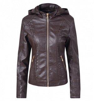 Утепленная женская куртка из эко-кожи, на замке, с капюшоном, цвет темно-коричневый