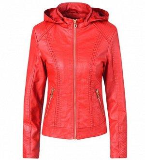 Утепленная женская куртка из эко-кожи, на замке, с капюшоном, цвет красный