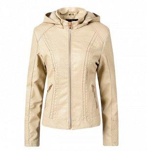 Утепленная женская куртка из эко-кожи, на замке, с капюшоном, цвет бежевый
