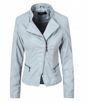 Женская куртка из эко-кожи, цвет голубой