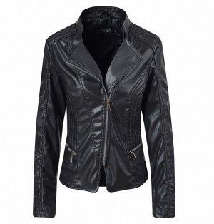 Женская куртка из эко-кожи, цвет черный